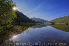 monarch lake, grand county, sunrise, morning, calm, rocky mountains