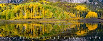 Autumn Aspen Reflections Pano 103-11