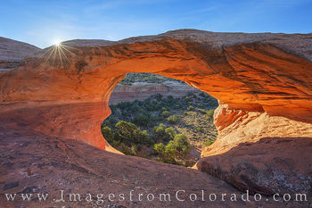 Cedar arch, rattlesnake canyon, rattlesnake arches, first arch, grand junction, colorado national monument, arches, canyons, sunrise, sunburst, mcinnis canyons
