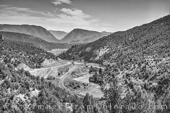 Trough Road, County Road 1, Colorado River, Grand County, black and white