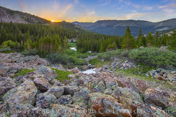 current creek, berthoud pass, winter park, summer, sunrise, sunburst, cliff, cold, hiking, grand county