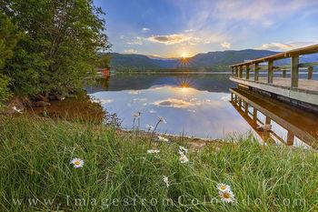 grand lake, sunrise, daisy, morning, calm, grand lake prints, colorado prints, reflection, pier, dock