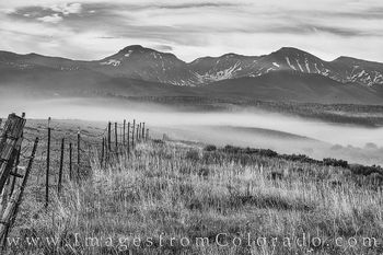 fraser valley, james peak, parry peak, fog, black and white, colorado prints, morning, summer, fence