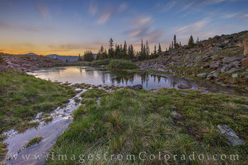 berthoud pass, pond, frozen, July, sunrise, winter park, highway 40, current creek