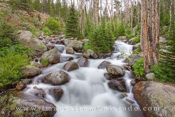 rocky mountain national park, rmnp, glacier creek, hiking rocky mountain national park, waterfalls, cascades, estes park, bear lake