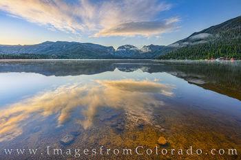 grand lake, point park, mount baldy, mount craig, sunrise, calm, colorado prints, grand lake prints, rocky mountain national park
