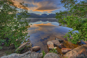 grand lake, sunrise, daisy, reflection, summer, morning, grand county, peace, rocky mountains, mount craig, mount baldy