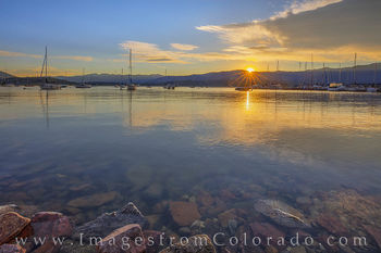 lake granby, boats, sunrise, harbor, rocky mountains, morning, summer, colorado prints