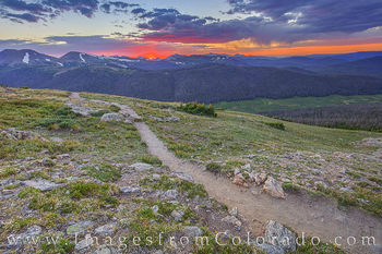 rocky mountain national park, RMNP, hiking, trail ridge road, sunset, summer, trail