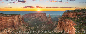 independence monument, colorado national monument, sunrise, grand junction, panorama, canyon, monument canyon