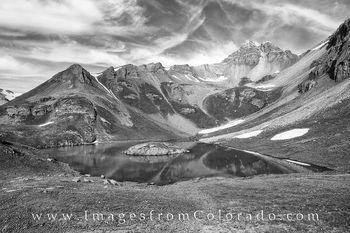 island lake, san juan mountains, silverton, silverton colorado, colorado hikes, black and white images, black and white, island lake hike