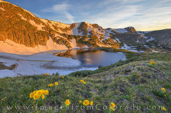 king lake, sunrise, morning, sunflowers, continental divide, rollins pass