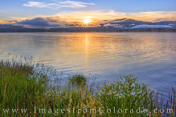 grand lake, lake granby, sunrise, wildflowers, grand county, highway 34, rocky mountains, lake, water, morning