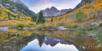 maroon bells, autumn, aspen, gold, fall, maroon creek, evening, sunset, reflection