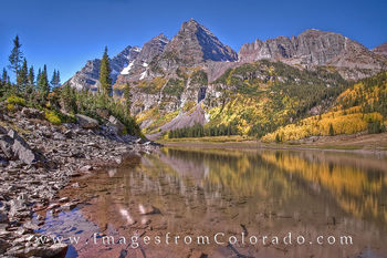 Maroon Bells Reflection from Crater Lake 1