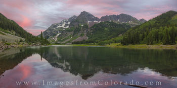 Maroon Bells and Crater Lake Evening Panorama 1