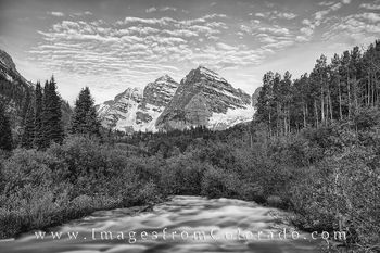 Maroon Bells and Creek Black and White 1