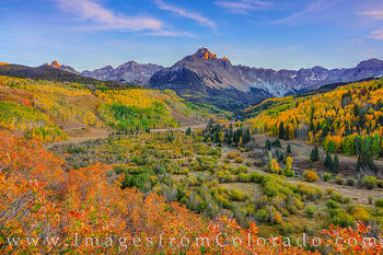 sneffels, 14ers, fall, cotober, aspen, red, orange, county road 5, ridgway