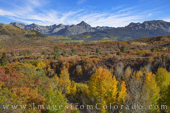 dallas divide, sneffels, telluride, fall, autumn, afternoon, aspen, scrub oak