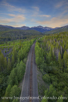 train tracks, winter park, parry peak, aerial, drone, morning