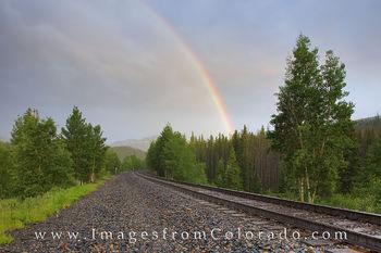 Winter park, fraser, train tracks, railroad, rainbow, storm, train