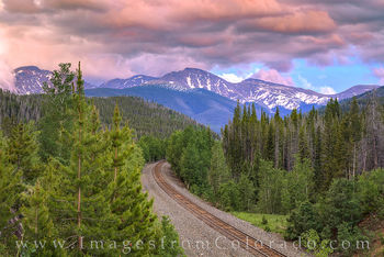 train tracks, parry peak, sunset, winter park grand county, continental divide, berthoud pass