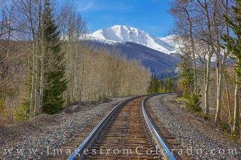train tracks, winter park, spring, snow, mountains, continential divide, parry peak, james peak, morning, cold