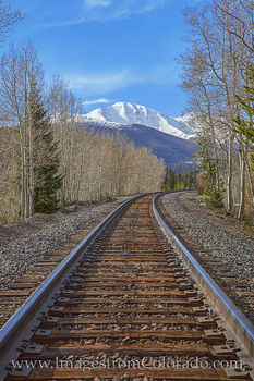 train tracks, winter park, continental divide, parry peak, berthoud pass, tracks, grand county, mountains, spring, snow