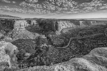 Ute canyon, black and white, rim rock road, Ute Canyon trail, colorado national monument, morning, canyon, cliffs, desert