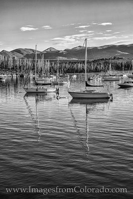 lake granby, grand county, boats, sailboats, sunshine, morning, black and white, prints for sale, best colorado