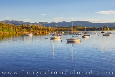 lake granby, boats, morning, harbor, quiet, rocky mountains, grand lake