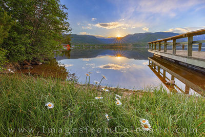 grand lake, sunrise, daisy, morning, calm, grand lake prints, colorado prints, reflection, pier, dock