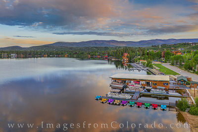 grand lake, sunrise, morning, color, summer, boats, drone, aerial