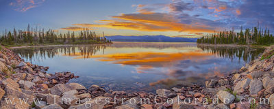 lake granby, panorama, grand county, sunrise, reflection, grand lake, hwy 34, rockies