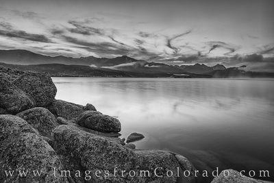 lake granby, winter park, grand lake, summer, morning, black and white, highway 34, shore, water, edge