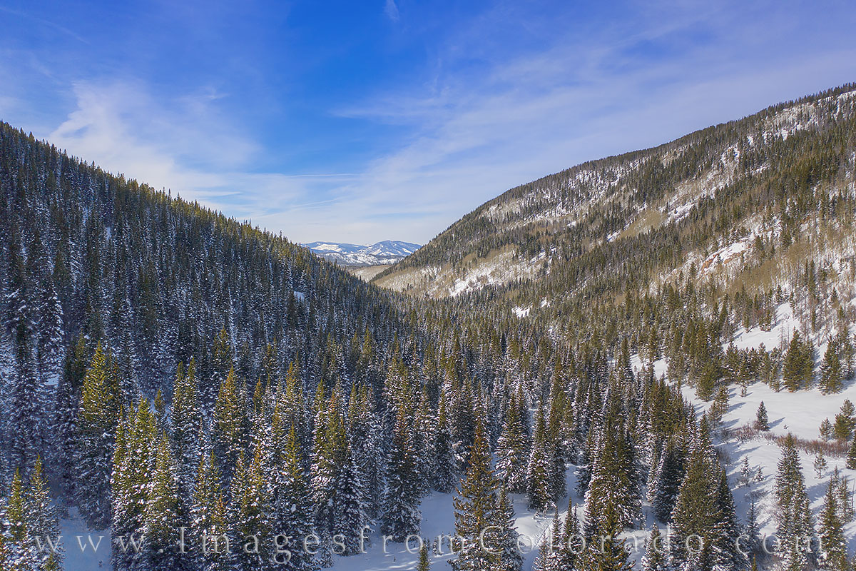 winter park, fraser, grand county, jim creek, december, winter, snow, drone, aerial, beauty blue skies, photo