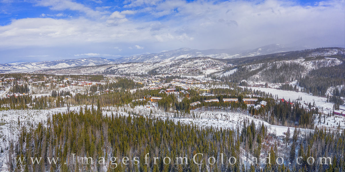winter park, snow, aerial, drone, beaver condos, winter, snow, highway 40, grand county, photo