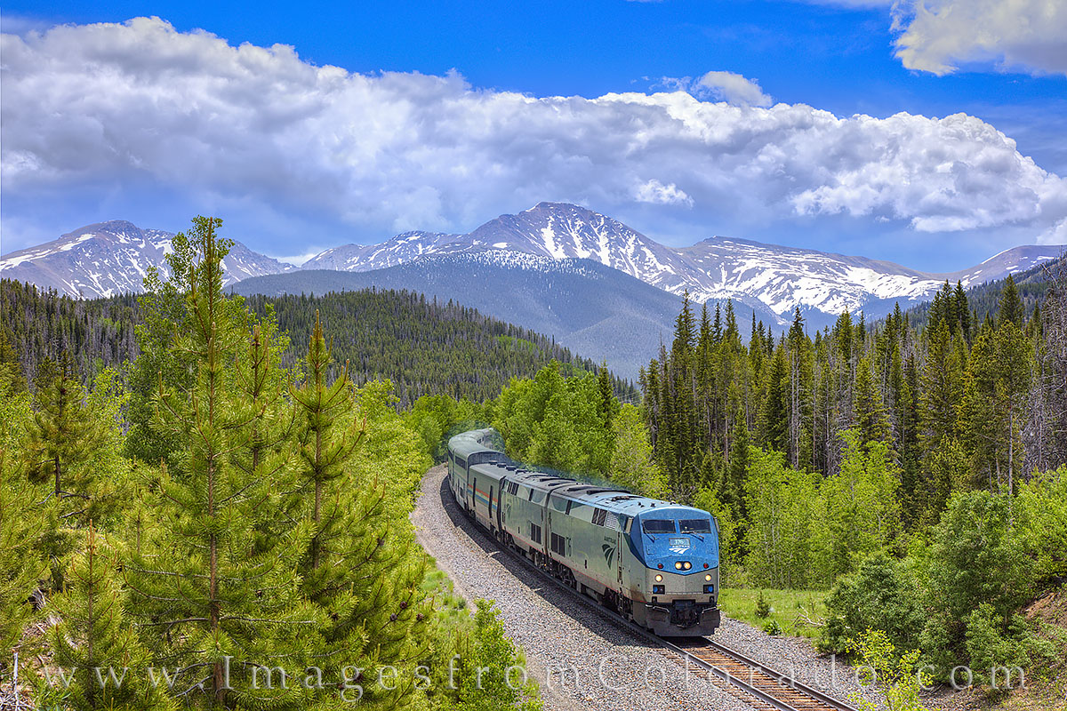 amtrac, train, parry peak, denver, winter park, fraser, storm clouds, berthoud pass, continental divide, tourism, tourist, travel, summer, photo