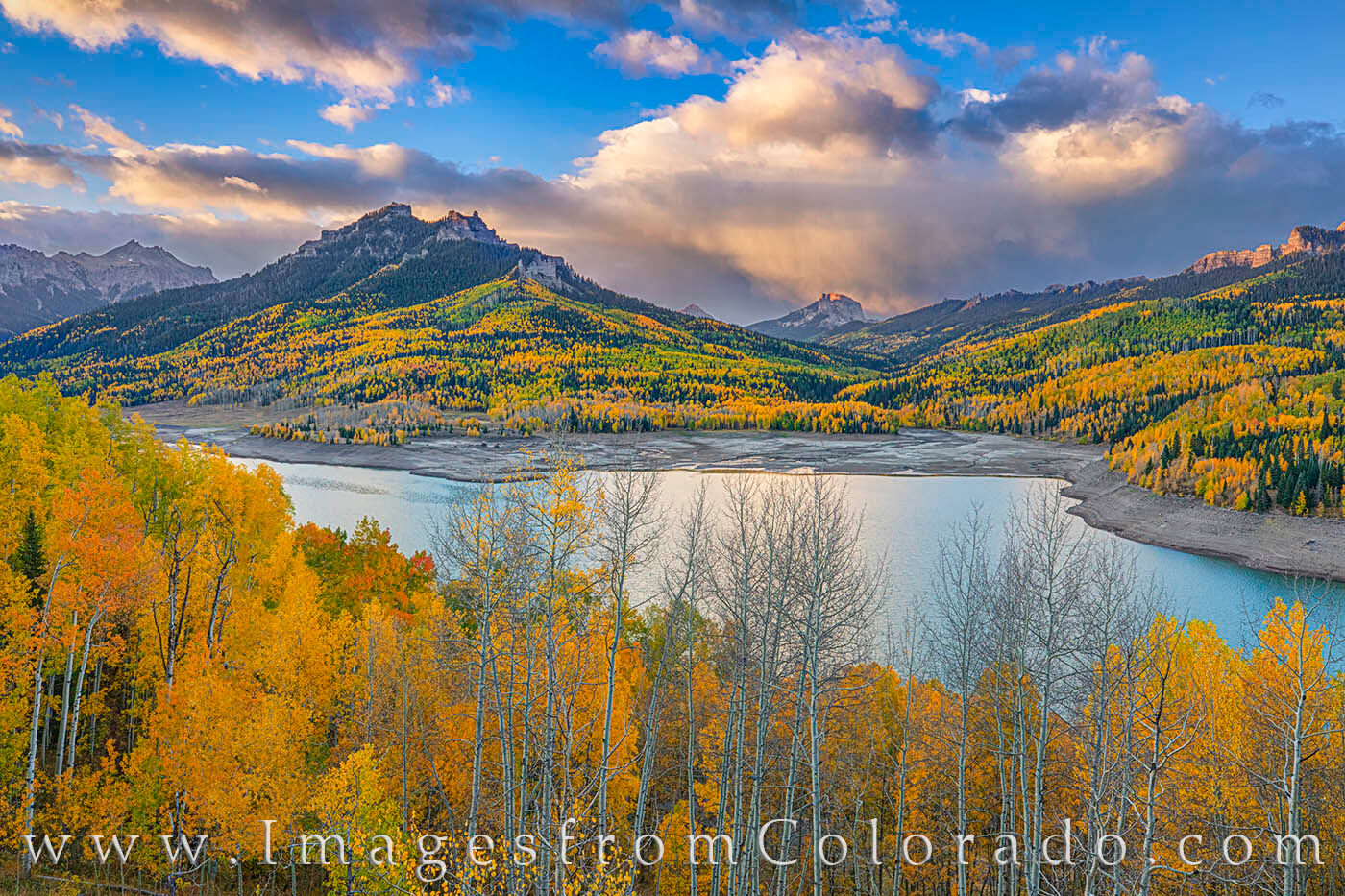 autumn, fall, san juans, silver jack reservoir, storm clouds, owl pass, ouray, aspen, gold, photo