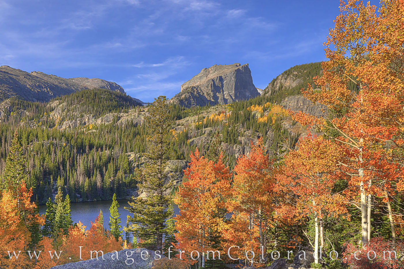 bear lake, flattop mountain, RMNP, morning october, aspen, orange, morning, photo