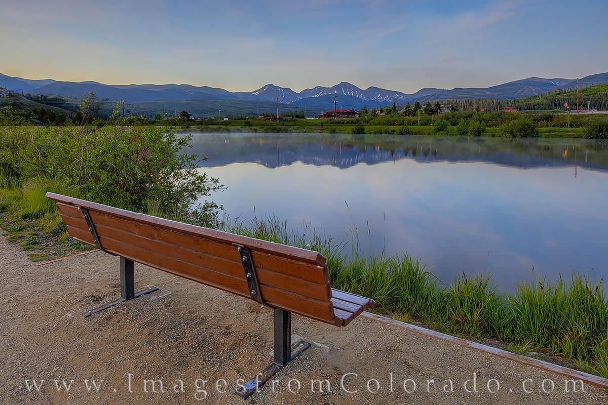 morning, winter park, fraser, continental divide, parry peak, calm, fishing pond, photo