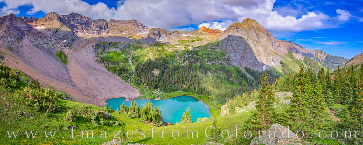 I've been up this trail several times, but never when the winds were calm. This view came from high above the Lower Blue Lake...