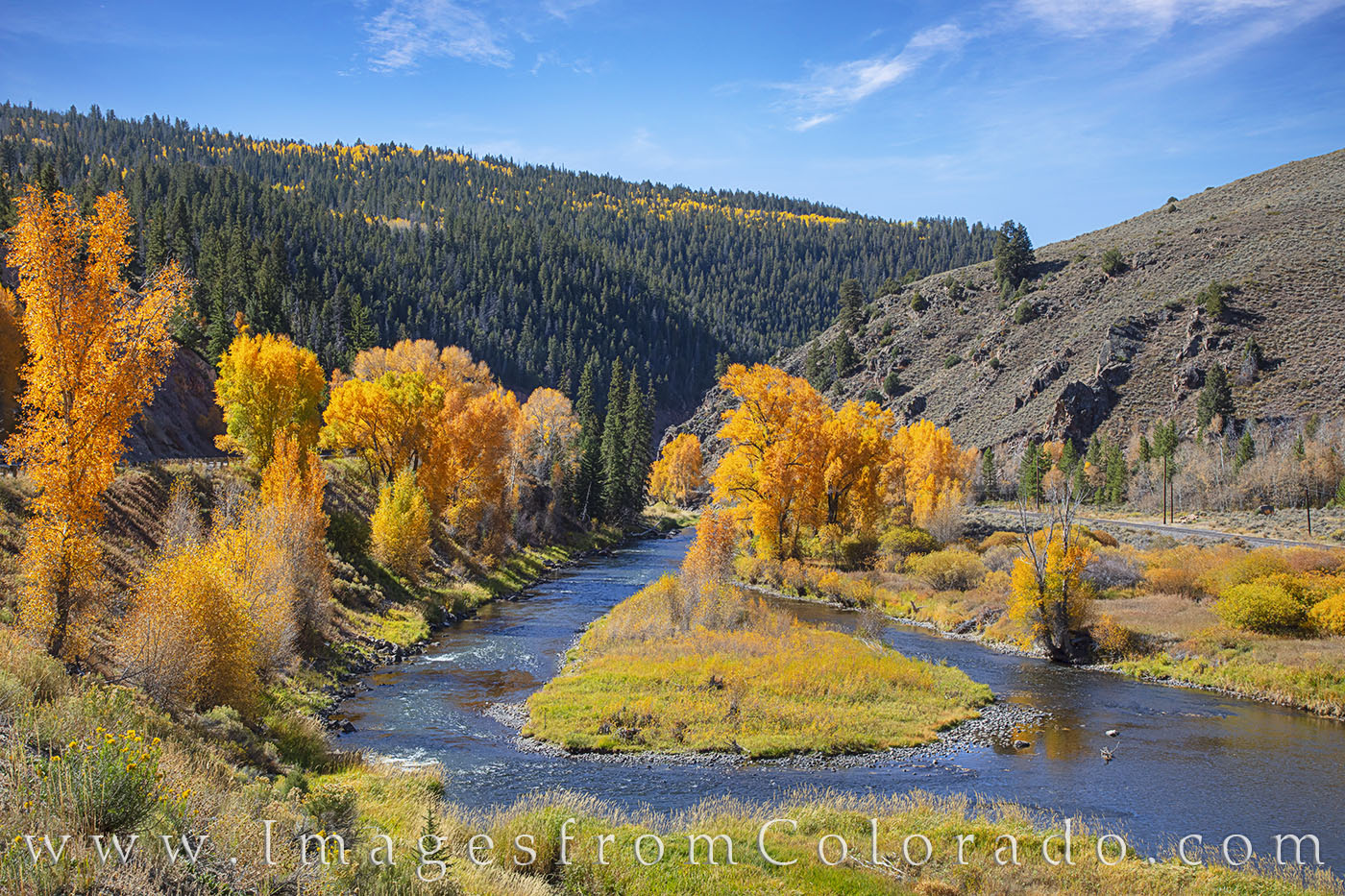 On a cool October afternoon, Byers Canyon seems to glow in orange and gold fall colors.