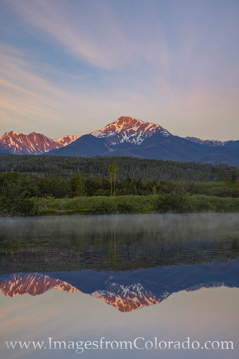 byers peak, fraser, reflection, morning, sunrise, cold, summer, photo