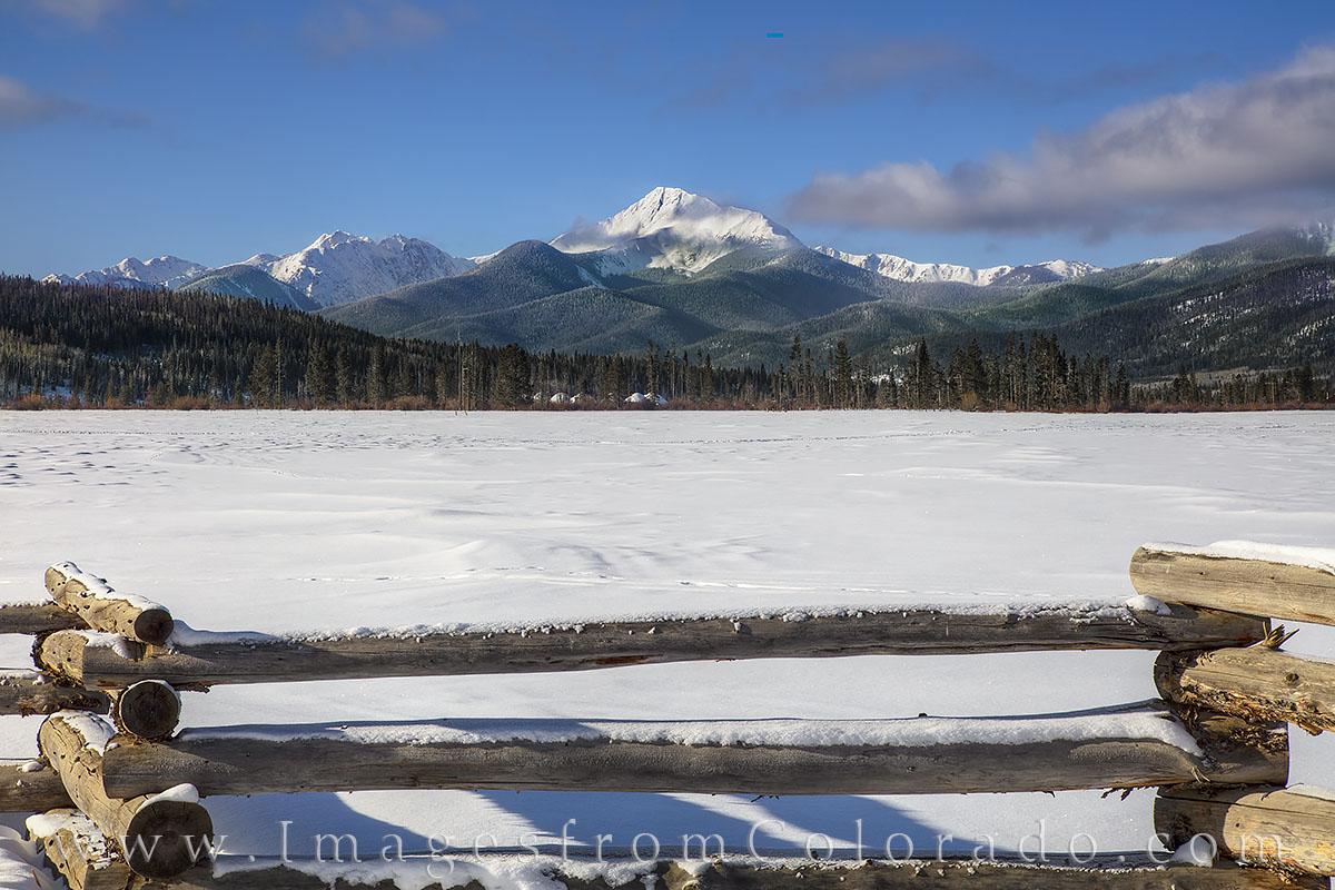 byers peak, winter park, fraser, fraser valley, snow, winter, december, fence, grand county, morning, blue, photo