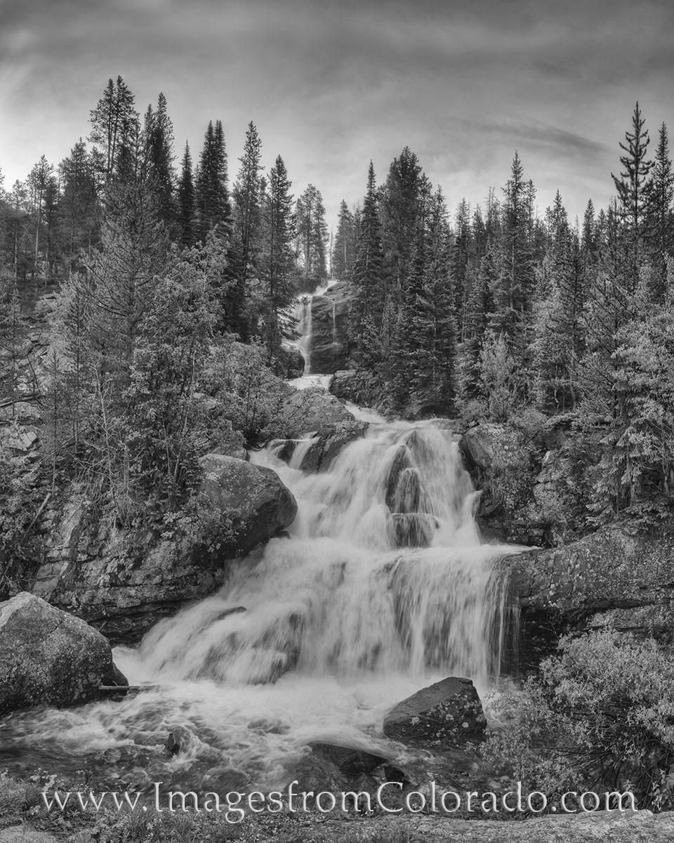 grand county, winter park, indian peaks wilderness, cascade trail, cascade falls, lone eagle peak, colorado hiking, hiking colorado, black and white, colorado black and white, photo