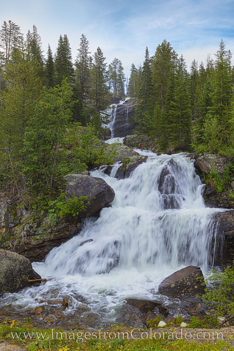 cascade falls, grand county, monarch lake, lone eagle peak, eagle peak, hiking colorado, waterfall, summer, photo