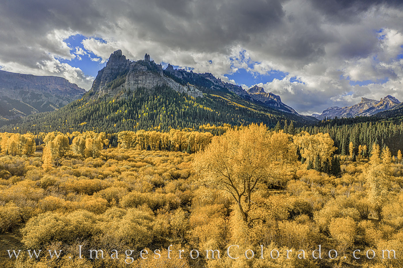 cimarron, san juans, fall, autumn, morning, drone, gold, aspen, oak, Owl Creek Pass, photo