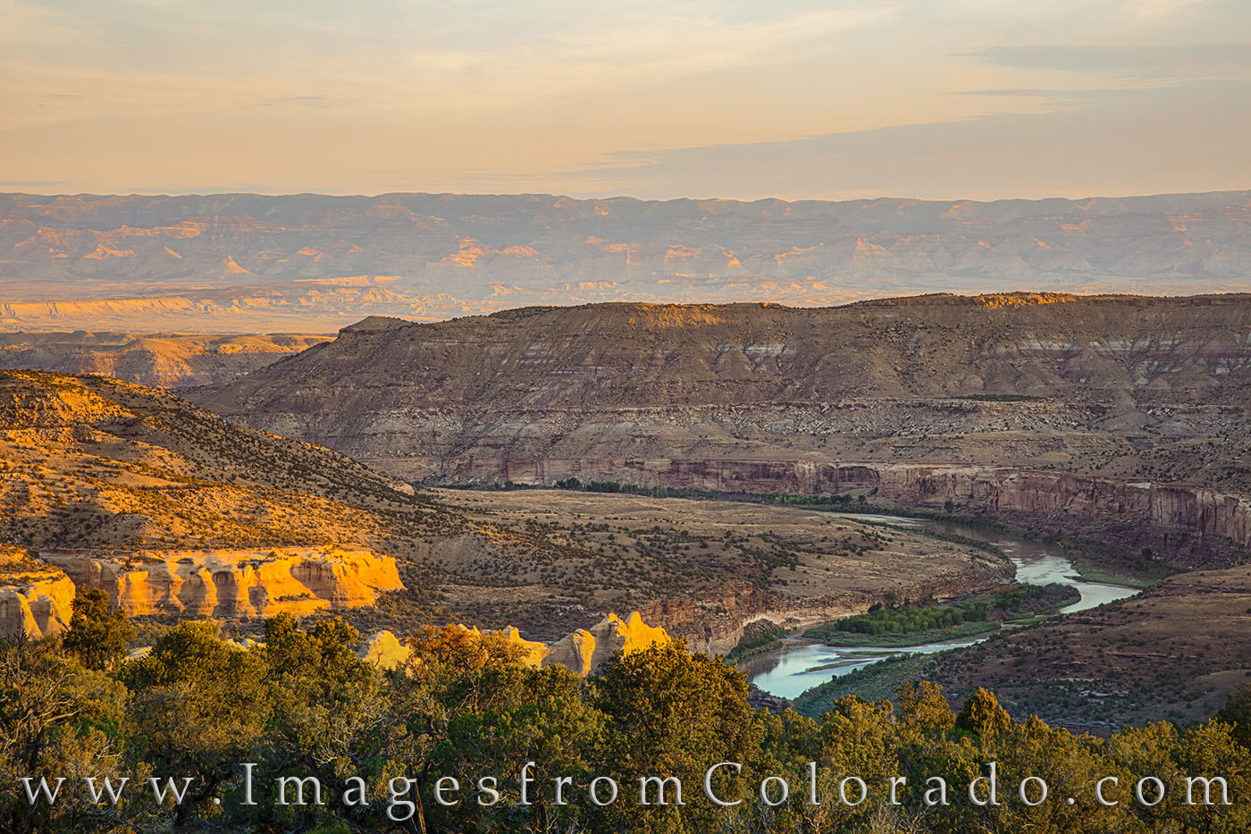 From high above the Colorado River from the top shelf of Rattle Snake Canyon, this is the majestic view of the Colorado River...