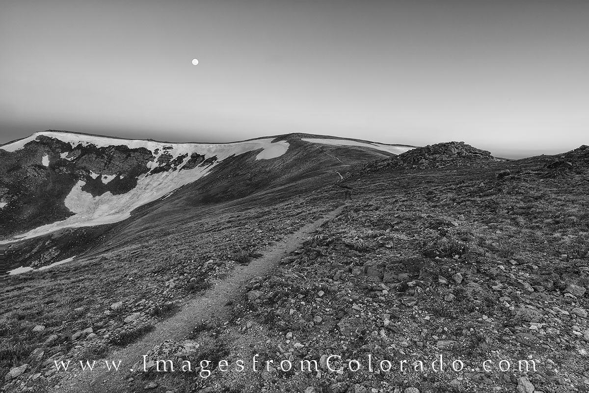 This black and white Colorado photography shows the Continental Divide Trail near Berthoud Pass. From there, the path leads to...